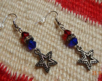 Silver-tone Red/White/Blue Glass Beaded Patriotic Star Dangle Earrings