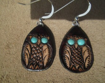 Owl earrings with turquoise eyes