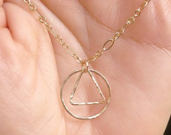 Hammered 14K Gold AA Recovery Pendant on Gold Filled Chain