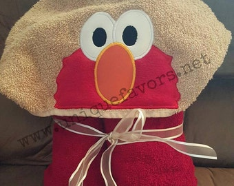 Red Monster inspired hooded towel with optional Personalization Sesame Street Elmo