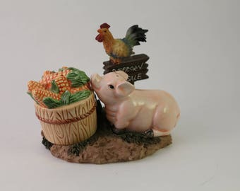 Barnyard Pig with Rooster Salt and Pepper Shakers