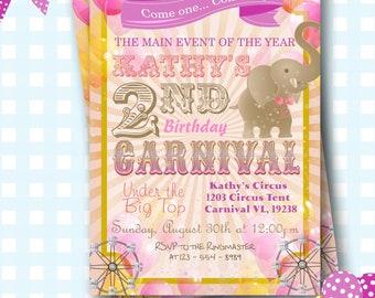 Amusement Park Birthday Invitation, Carnival Invitation, Circus Invite, Theme Park Invite, Circus Birthday Invitations, Carnival Party - L97