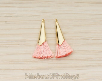 PDT1259-01-G-PI // Pink Silk Gold Plated Simple Corn Top Small Tassel Pendant, 2 Pc