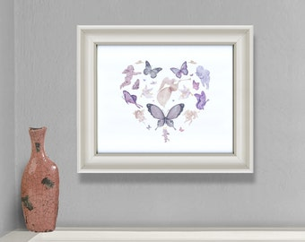 Butterfly Angel Wall Art - Religious Gift for Baptism, Confirmation, Wedding or for Home