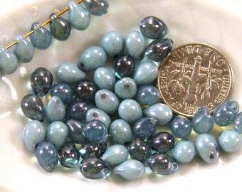 Tear Drop Shaped Beads,  4mm x 6 mm, Denim Blue Mix,  Preciosa Czech Glass,  Top Side Drilled, 50 Pieces