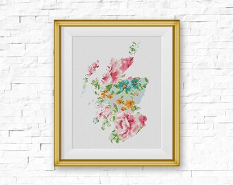 BOGO FREE! Scotland Cross Stitch Pattern, Floral Scotland Silhouette Map Counted xStitch, Modern Wall Decor, PDF Instant Download #039-67-1