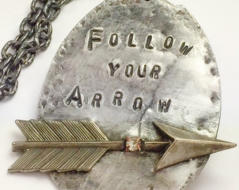 Follow Your Arrow Rhinestone Arrow Spoon Necklace, Mixed Metal Arrow Pendant on Oxidized Chain,One of a Kind Necklace by Kyleemae Designs