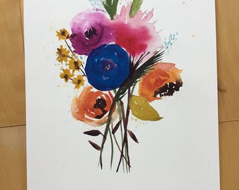 Original Watercolor Painting, Floral Painting, Fine Art, Nature, Modern Art, Bouquet, Minimalist, Garden Floral, Abstract Art, Bohemian