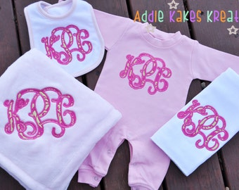 Monogrammed Baby Girl Sleeper - Baby Girl Clothing Set - Baby Girl Gift Set - Baby Shower Gift - Blanket - Bib - Personalized