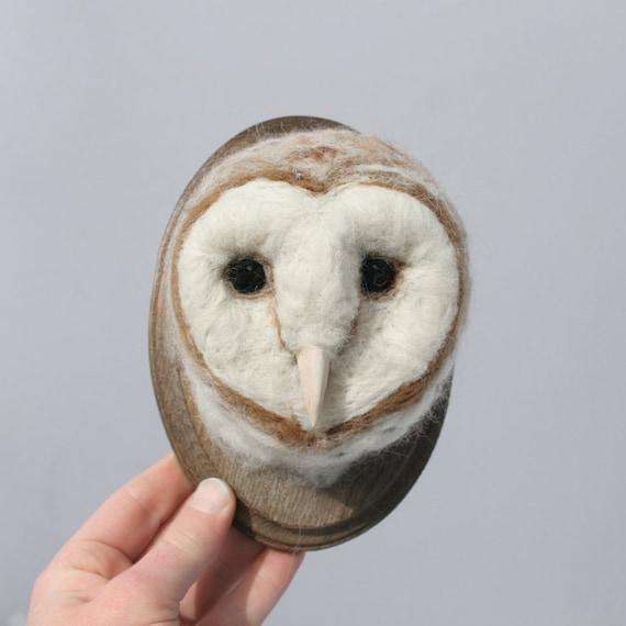Wool Faux Taxidermy Barn Owl (Tyto albus)