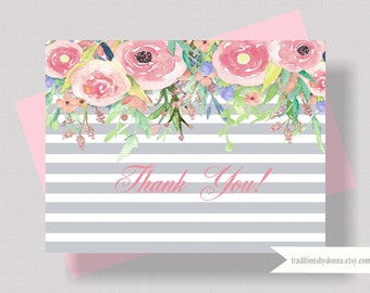 THANK YOU CARDS Watercolor Floral Blush Pink and Gray   Bridal Shower Thank You Cards   Boxed Set of 10   Women's Thank You Card Shabby Chic