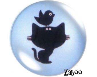 2 cabochons 25mm glass, cat and bird silhouette, blue and black
