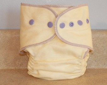 Fitted Large Cloth Diaper- 20 to 30 pounds- Lavender and Cream- 19007