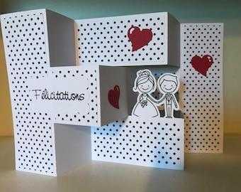 Accordion with envelope wedding congratulations card