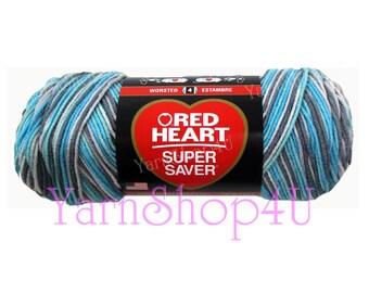ICELANDIC Red Heart Super Saver, variegated Blue multi color yarn, 5oz acrylic yarn, Blue ombre yarn, Blue mixed yarn, worsted weight yarn ±