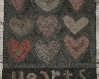 Primitive Folk Art Rug Hooking Pattern-Hearts
