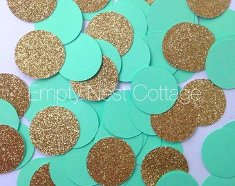 Mint Green and Gold Confetti, Circle Confetti Toss, New Years Eve, Holiday Decor, Twinkle Twinkle, Embellishment, Table Decor