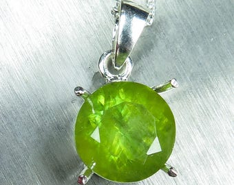 4.55ct Natural Titanite Sphene Sterling 925 silver 9ct 14k 18k 22k yellow white rose Gold Platinum Palladium solitaire pendant with chain