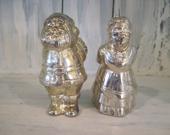 Vintage silver color plastic salt and pepper shakers santa claus and mrs claus small cute salt and pepper shakers set, santa salt pepper