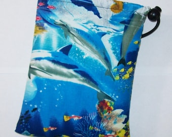 """Pipe Pouch, Ocean Life, Pipe Case, Pipe Bag, Sea Bag, Padded Pipe Pouch, 420, Stoner Gift, Animal Bag, Pipe Cozy, Smoke Bag - 7"""" DRAWSTRING"""