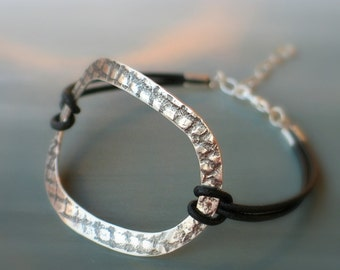 Leather wrap sterling silver bracelet