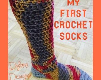 Crochet Socks Pattern PDF, 3 sizes, Easy Crochet Slipper Socks, Crochet your own socks
