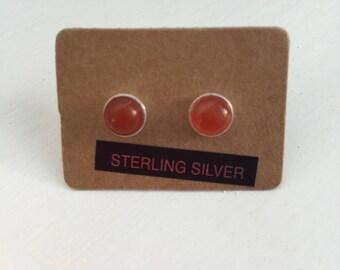 Carnelian and Silver stud earrings