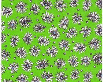 HALF YARD Yuwa - White Daisies and Dots on Lime Green - Suzuko Koseki - Japanese Import Fabric - Aqua and black