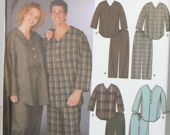 Simplicity 5268 Sewing Pattern Men Women Couples Pajama Tops & Bottoms XS S M FF