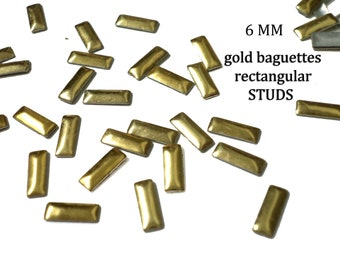 Gold Rectangular Baguettes Studs for Iron On, Hot Fix, or Glue On  6 mm
