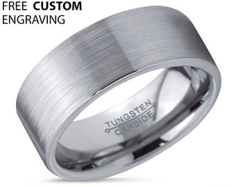 Mens Wedding Band, Tungsten Ring Silver 6mm, Wedding Ring, Engagement Ring, Promise Ring, Personalized, Rings for Men, Simple Ring
