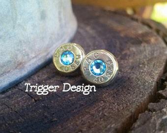 40 Caliber Bullet Casing Post Earrings- Light Blue