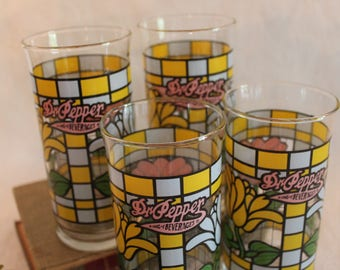 Set of 4 Rare Dr. Pepper King of Beverages Glass Tumblers - Libbey Glass, Tulips, Stained Glass Style
