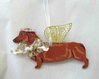 Hand-Painted DACHSHUND RED Metal Winged Angel Wood Ornament.....Artist Original