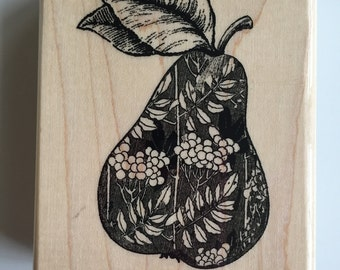 """Paper Inspirations """"Ornamental Pear"""" Rubber Stamp, Wood Mounted, Brand New #G8020, Perfect for Card Making, Scrapbooking"""