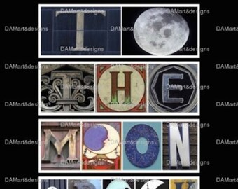 I Love You to The Moon and Back  Alphabet Photo Art Print