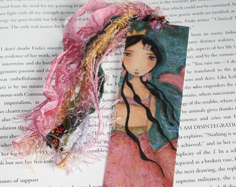 Caminando Sobre el Mar - Mermaid - Laminated Bookmark  Handmade - Original Art by FLOR LARIOS
