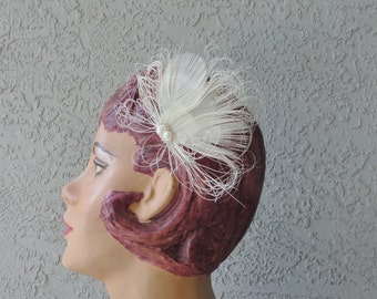 Very Rare Natural White Peacock Feather Bridal Hair Piece And Rhinestone