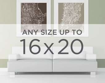 """16x20"""" Cityscape Map Poster: Choose your City"""