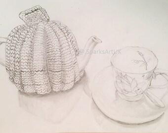 Time for tea - print of original graphite drawing