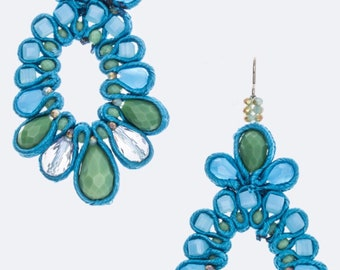 Silk Trim Laced Flower Earrings Turquoise
