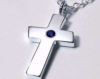 Large Blue Sapphire Cross Pendant, Sterling Silver Cross Pendant, Sterling Silver Cross Necklace, Blue Sapphire Cross Necklace, Large Cross