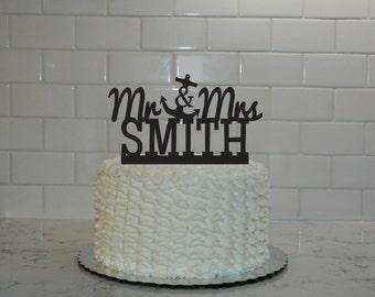 Mr & Mrs  Anchor Wedding Cake Topper with Last Name - Nautical - Last Name Wedding Cake Topper - Personalized - destination - beach - cruise