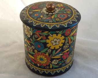 Vintage Decorative Tin Container Collectible Storage Canister