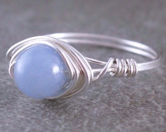 Sterling Wire Gemstone Ring Sky Blue Angelite Studs Sterling Silver Wire Wrapped Jewelry Handmade Jewelry Wire Ring Sky Blue Gemstone
