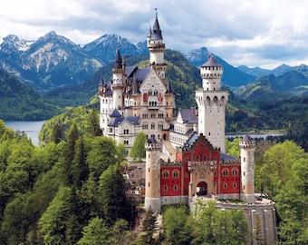 Counted cross stitch pattern Neuschwanstein Castle - Landscape - Large cross stitch chart - Cross stitch castle - Printable PDF Download