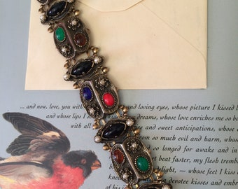 Vintage 50s Bold Victorian Revival Metal Multi Color Cabachon Statement Ladies Clasp Bracelet Gift for Her