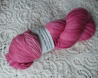 Hand Dyed Yarn Merino Cashmere Nylon Sock Pink tonal