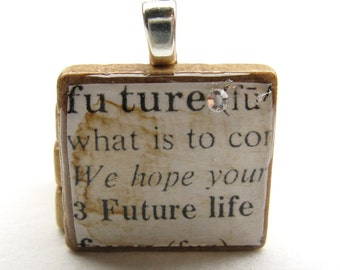 Future - vintage dictionary Scrabble tile with Swarovski crystal