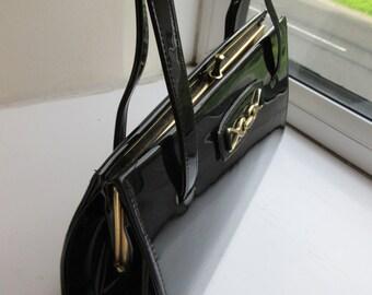 Vintage 1960's St Michael Patent Black Handbag - So Cute!!